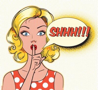 Fototapet Shhh bubbla. Pin up kvinna sätta pekfingret mot läpparna för tyst tystnad. Popkonst serier stil. vektor