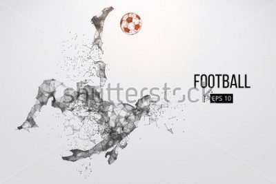 Fototapet Silhouette of a football player. Dots, lines, triangles, text, color effects and background on a separate layers, color can be changed in one click. Vector illustration