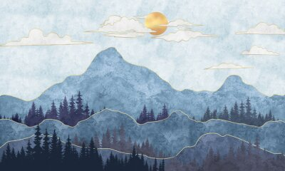 Fototapet Silhouettes of mountains with trees. Abstraction of textured plaster with gold elements. Mural, mural, Wallpapers for interior printing
