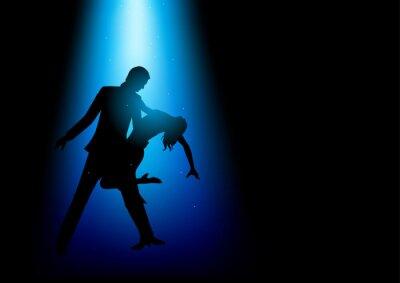 Fototapet Silhuett illustration av ett par dansande