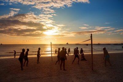 Fototapet Silhuett personer som spelar volleyboll