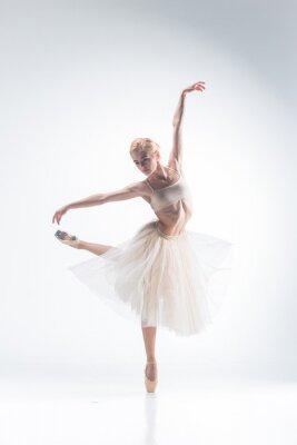 Fototapet Silhuetten av ballerina på vit bakgrund