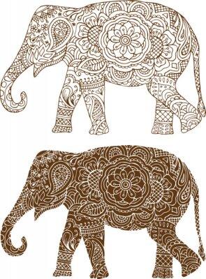 Fototapet silhuetten av en elefant i den indiska mehendi mönster