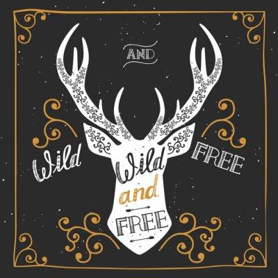 Fototapet Silhuetten av en hjort. Handritad typografi affisch, gratulationskort, för t-shirt