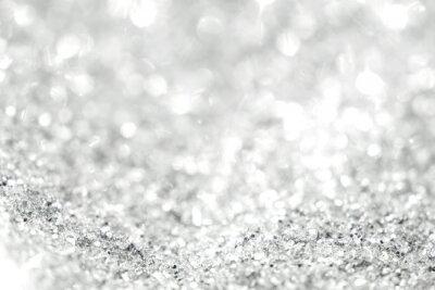 Fototapet Silver bakgrund av defocused abstrakta ljus. Guld bokeh lampor.