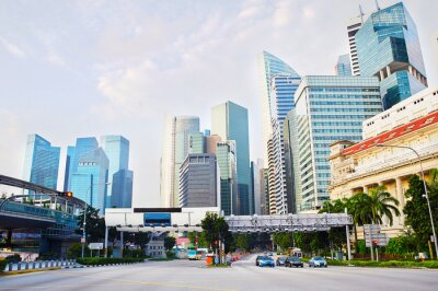 Fototapet Singapore affärsdistrikt