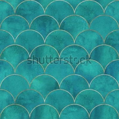 Fototapet Sjöjungfru fisk skala våg japanska lyx sömlösa mönster. Akvarell handritad mörk kricka turkos bakgrund med guld linje. Akvarell skala formad konsistens. Tryck för textil, tapeter, inslagning