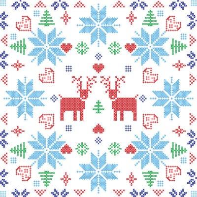 Fototapet Skandinavisk stil nordiska vinter Stich, stickning seamless i den kvadratiska formen inklusive snöflingor, träd, xmas snöflingor, hjärtan, renar och dekorativa element i rött och blått kakel