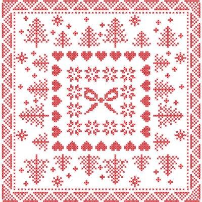Fototapet Skandinavisk stil nordiska vinter stygn, stickning seamless på torget, kakel form inklusive snöflingor, pilbåge, julgran, julafton snöflingor, hjärtan, dekorativa element i rött