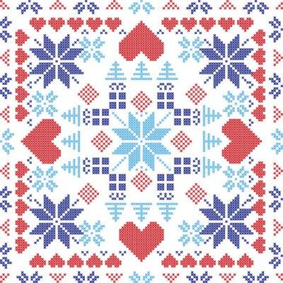 Fototapet Skandinavisk stil nordiska vintern röda knappen, stickning seamless i den kvadratiska formen inklusive snöflingor, xmas gåvor, xmas träd, hjärtan och dekorativa element i rött och blått