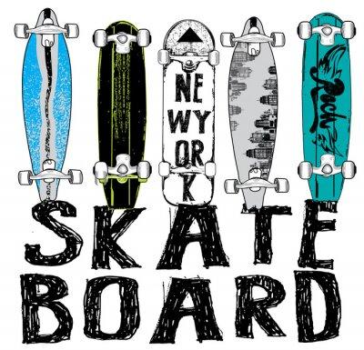 Fototapet Skate board typografi, t-shirt grafik