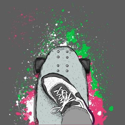 Fototapet Skateboarder på en skateboard. Grunge bakgrund med blotting. vektor