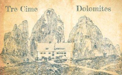 Fototapet Sketch of Dreizinnen hut in Tre Cime, Dolomites