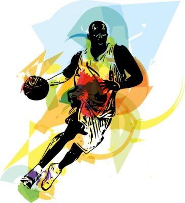 Fototapet Skiss av basketspelare