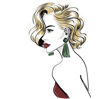 Fototapet skiss av den klassiska blonda kvinnan med hårvågor