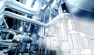Fototapet Skiss av rörkonstruktion blandas med industriell utrustning foto