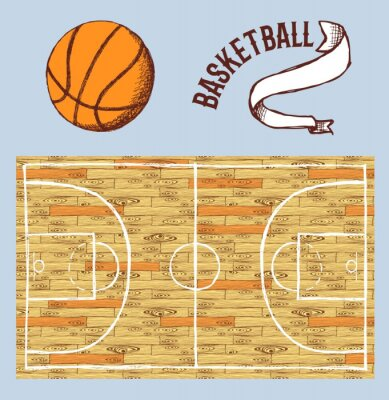 Fototapet Skiss basket set med domstol och boll