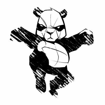 Fototapet Skiss panda kampsporter