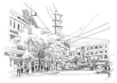 Fototapet skiss teckning av stads street.Illustration.