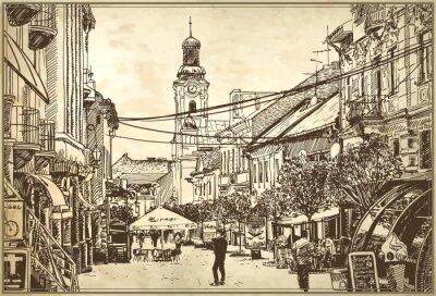 Fototapet skiss vektor illustration av Uzhgorod stadsbild
