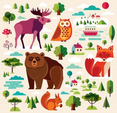 Fototapet Skogens djur colletion