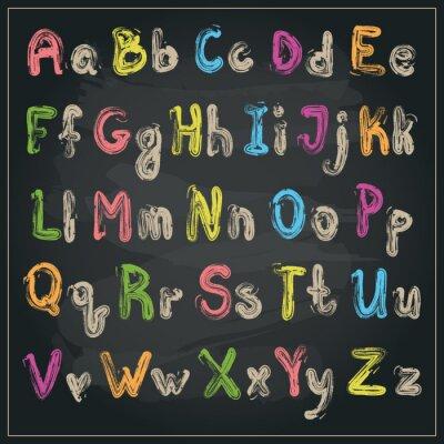 Fototapet Skriven med en borste alfabet