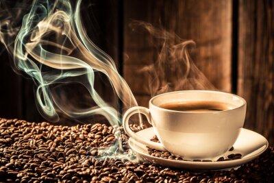 Fototapet Smak kaffekopp med rostade frön