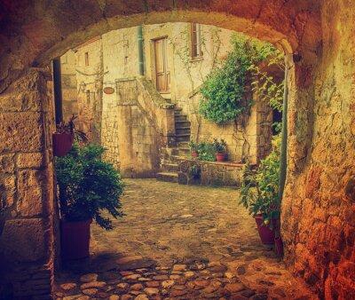 Fototapet Smal gata av medeltida tuff stad Sorano med båge, gröna växter och kullersten, resor Italien tappning bakgrund