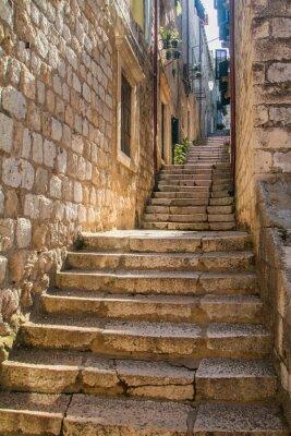 Fototapet Smal gata och trappor i Gamla Stan i Dubrovnik, Kroatien, Medelhavet omgivande