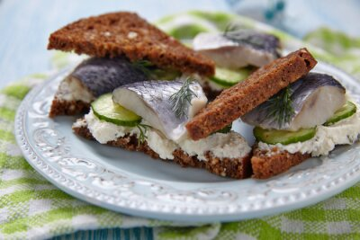 Fototapet Smörgås med sill