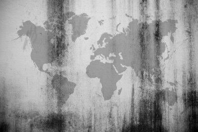 Fototapet Smutsig vägg karta