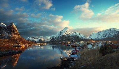 Fototapet snö i Reine Village, Lofoten, Norge