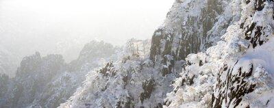 Fototapet snöplats Huangshan backen i vinter