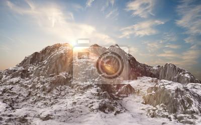 Fototapet Snötäckta berg. vinterlandskap