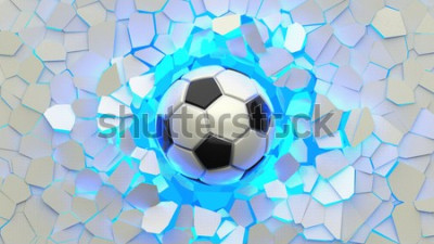 Fototapet Soccer ball crash blue lighting white wall. The wall was cracked. 3D illustration. 3D high quality rendering.