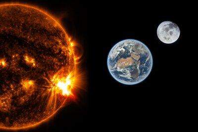 Fototapet Sol, jord och månen - Delar av bilden som tillhandahålls av NASA