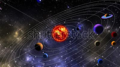 Fototapet Sol-systemet. Fotografiet är uppdaterat med hjälp av 3D-rendering och Gaussisk brusfördelning i bildbehandlingsprogram och kodning.