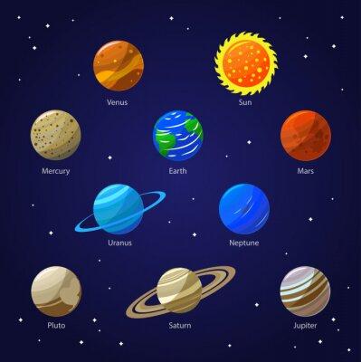 Fototapet Solar System Planets och Sun. Vektor