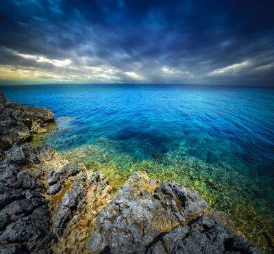 Fototapet solnedgång och hav
