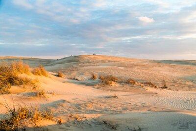 Fototapet Solnedgång över de majestätiska sanddynerna vid Jockey Ridge State Park