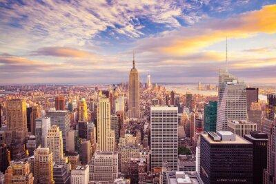 Fototapet Solnedgång utsikt över New York City tittar över centrala Manhattan