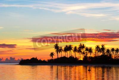 Fototapet Solnedgång vid havet med mörka silhuetter av palmer och fantastiska molnig himmel