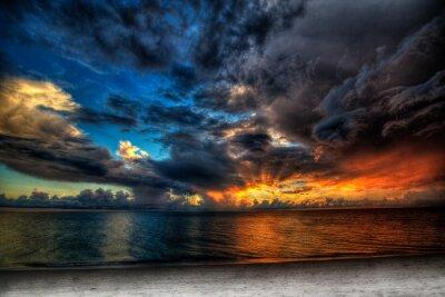 Fototapet Solnedgången över havet