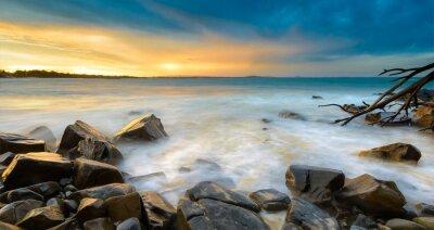 Fototapet Solnedgången på stranden