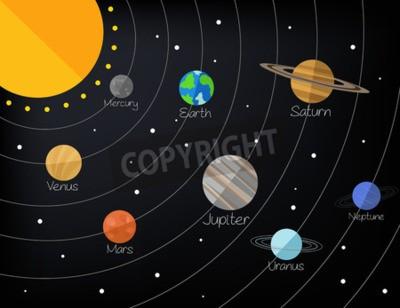 Fototapet Solsystem. Vektor platt illustration