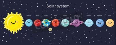 Fototapet Solsystemet med söta leende planeter, solen och månen. vektor