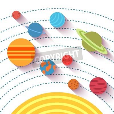 Fototapet Solsystemet och rymdföremål. Vektor som i platt stil.