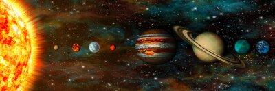 Fototapet Solsystemet, planeter i en rad, ultra