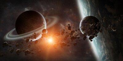 Fototapet Soluppgång över avlägsen planet systemet i rymden 3D-rendering elementet