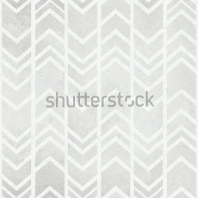 Fototapet Sömlös akvarellpapper bakgrund med stamkalat ikat vattenfärg gråmönster